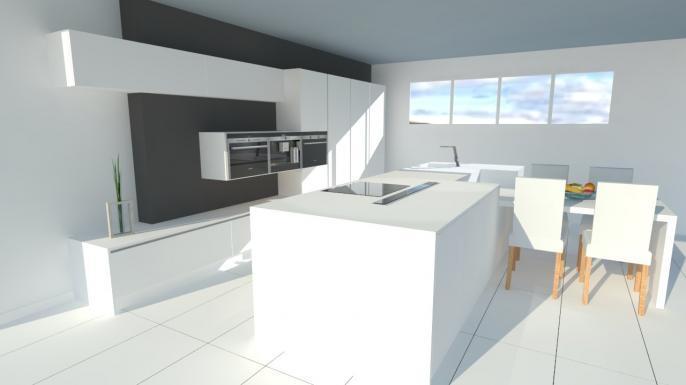 Tr s belle cuisine blanche sans poign es avec lot - Cuisine design blanche et noire ...