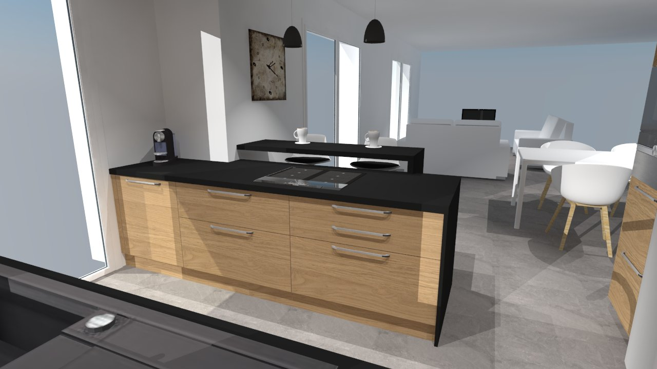 cuisine moderne noir et bois avec des id es. Black Bedroom Furniture Sets. Home Design Ideas