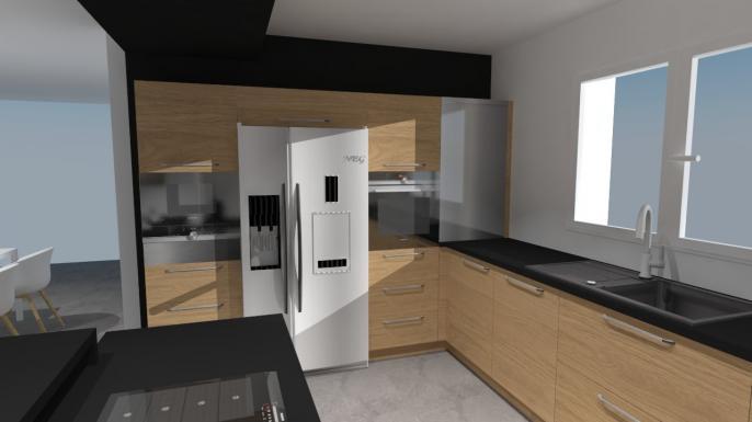 Deco Salon Blanc Et Cuivre : cuisine plaquée bois avec plan de travail noir cette cuisine dispose