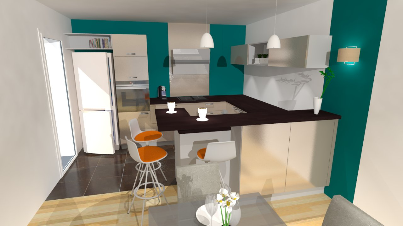 Cuisine en u beige et marron - Decoratie salon beige et marron ...