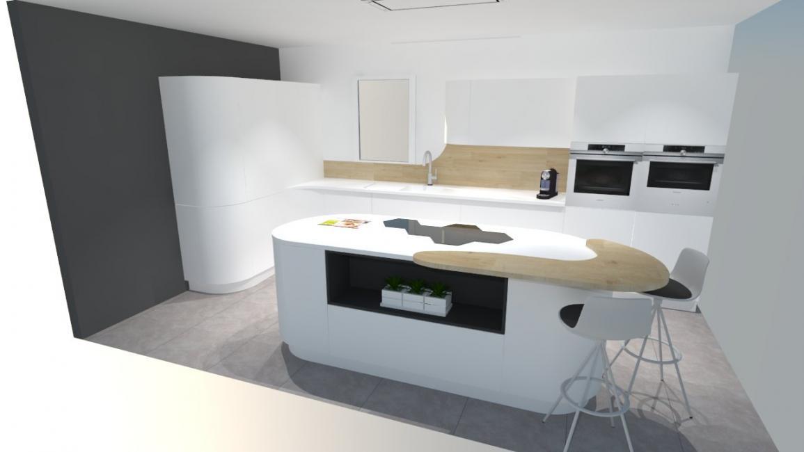 Idee Couleur Chambre Bebe Garcon : Cuisine design blanche et bois avec ilot