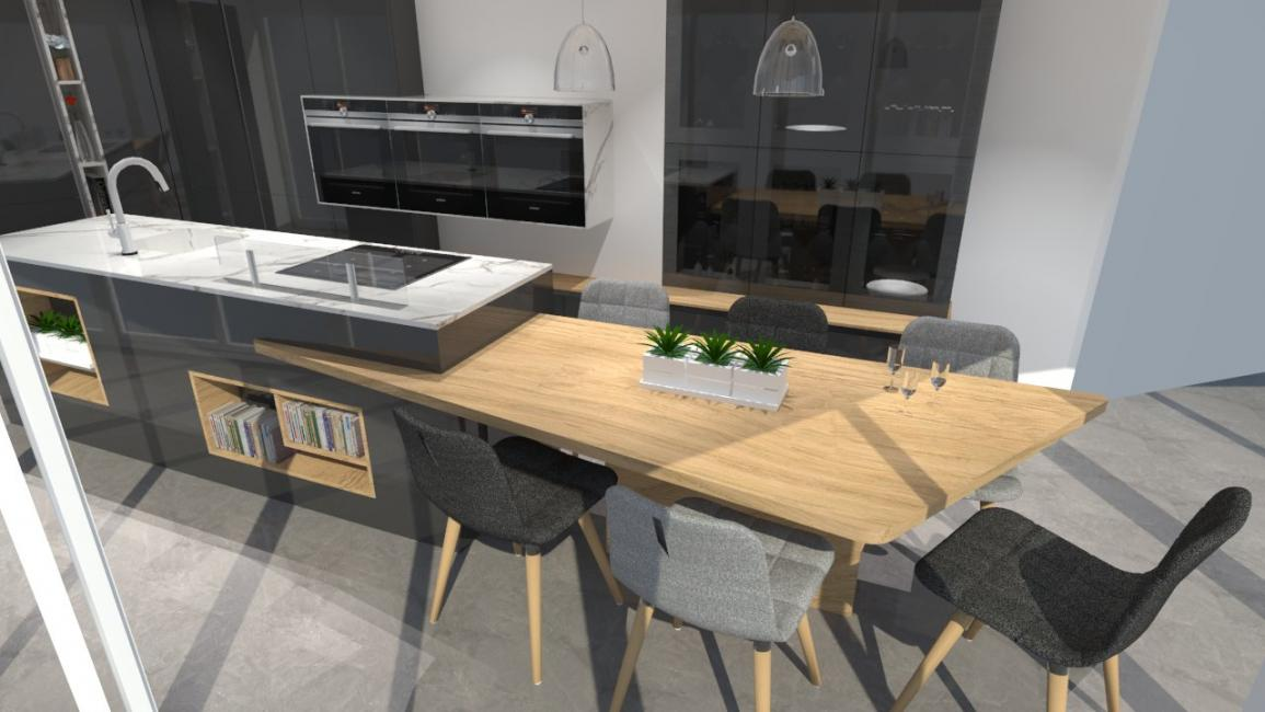 Pin image cuisine moderne avec table int gr e de format - Cuisine avec table integree ...