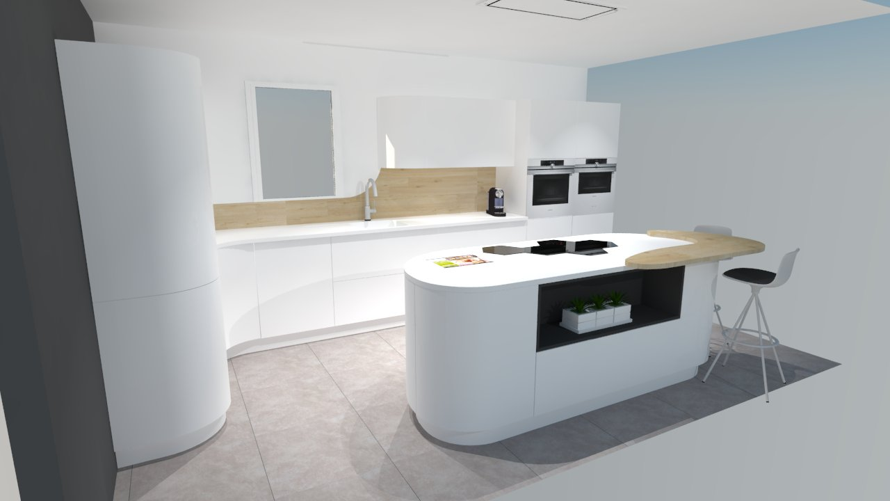 Idees de salle cuisine moderne for Cuisine blanche et bois