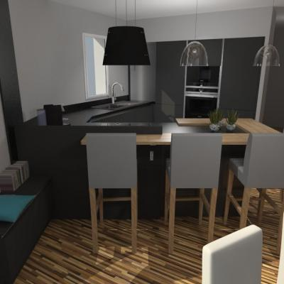 Cuisine moderne gris anthracite mat et bois massif for Voir cuisine moderne