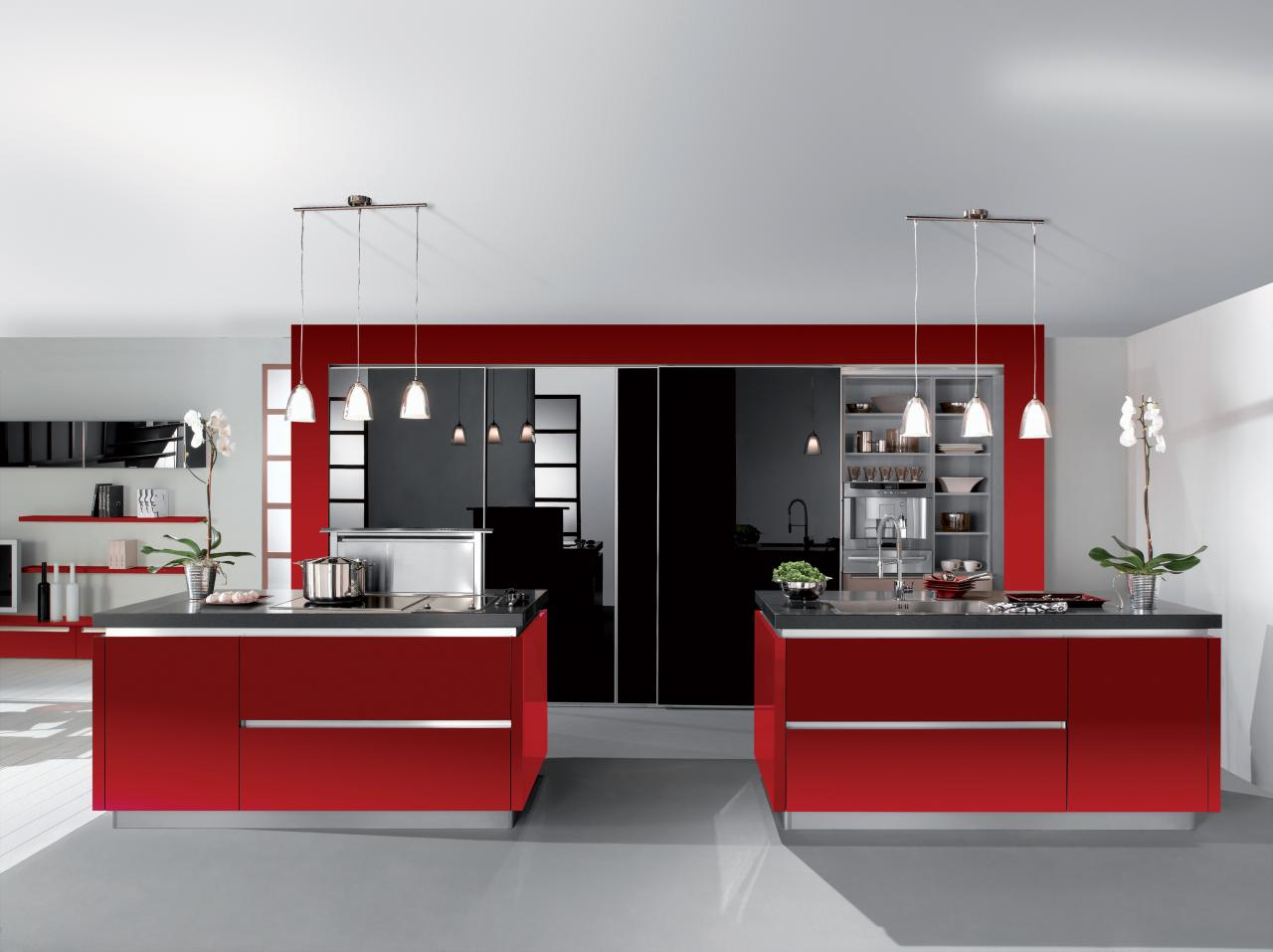 cuisine quip e rouge et noir. Black Bedroom Furniture Sets. Home Design Ideas