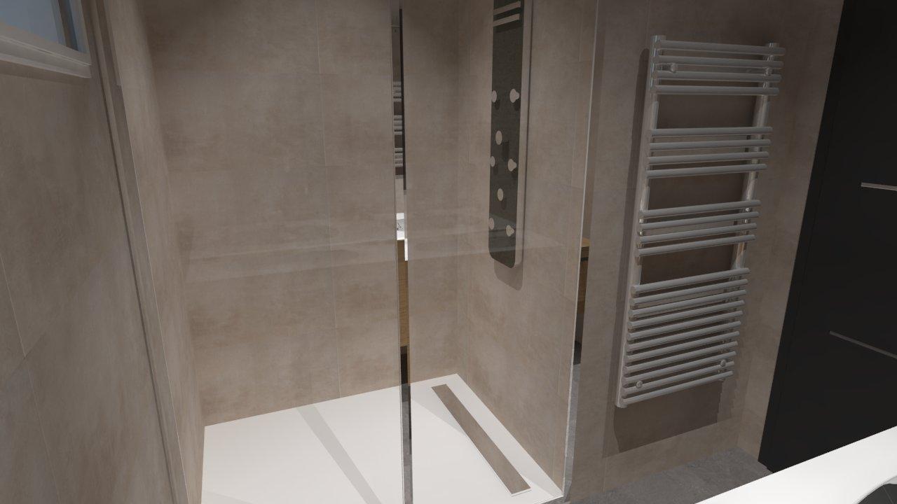 Douche Italienne En Bois : Salle de bain bois beige blanc gris avec douche italienne