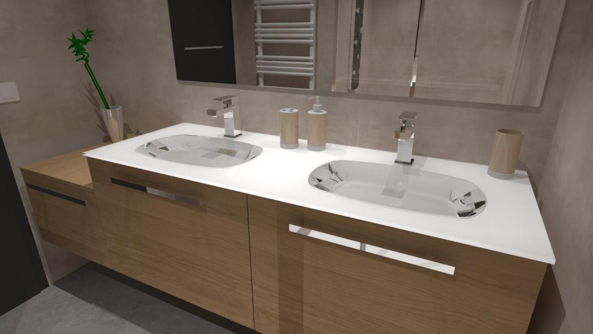 salle de bain bois beige blanc gris avec douche italienne. Black Bedroom Furniture Sets. Home Design Ideas