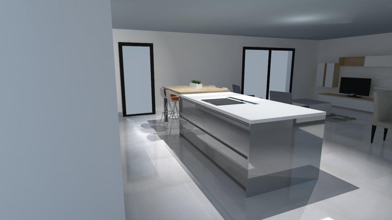 Cuisine laque blanche plan de travail gris decoration for Cuisine moderne blanche et grise