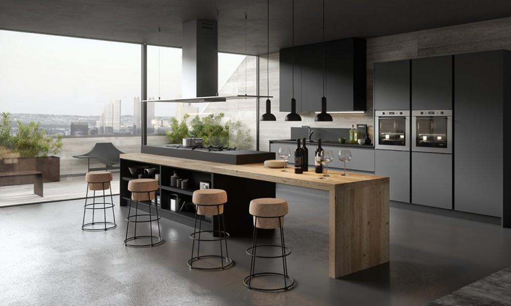Cuisine design avec ilot gris anthracite et bois sans poignees