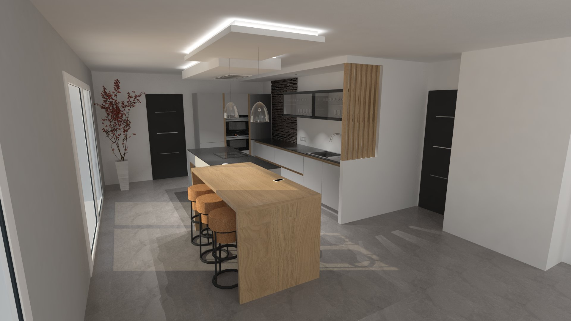 Cuisine design avec ilot gris clair et bois
