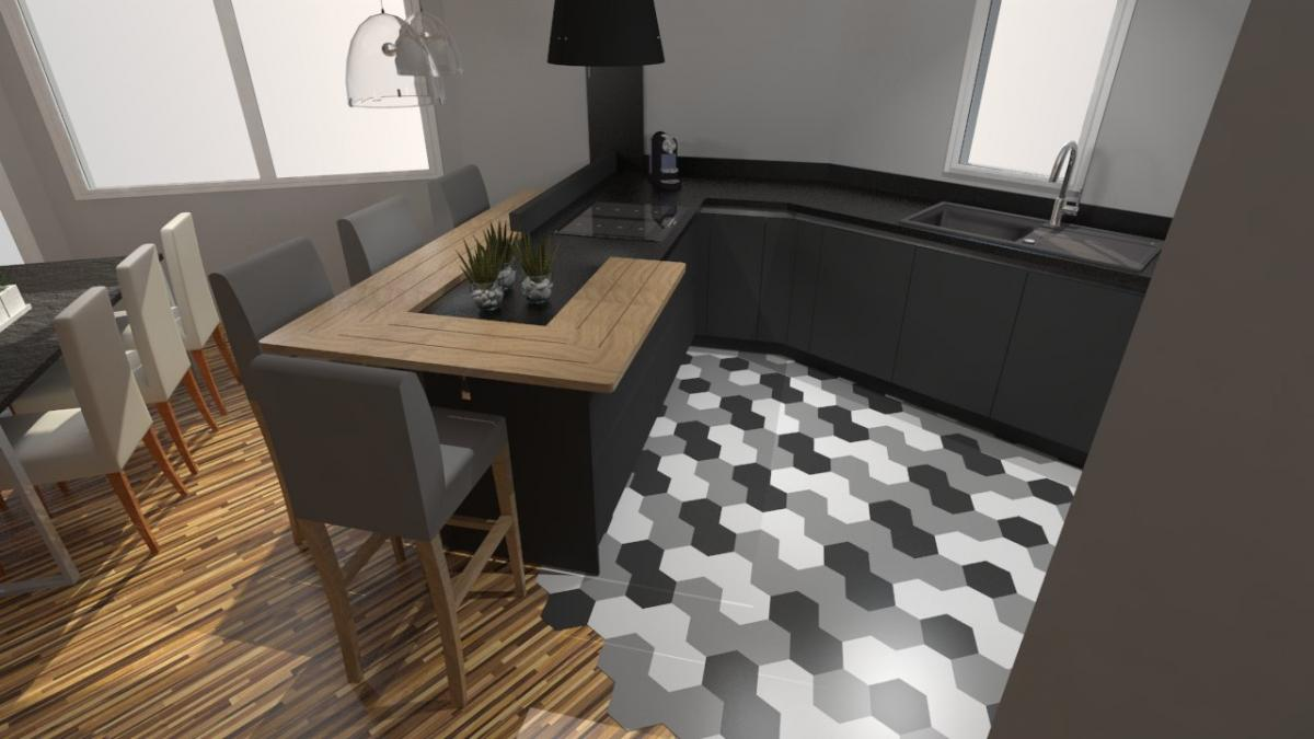 Cuisine design carrelage moderne gris anthracite et bois