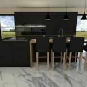 Cuisine design gris anthracite et or