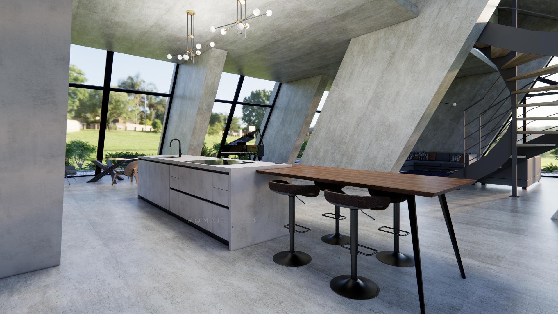 Cuisine loft beton moderne design dekton noyer g