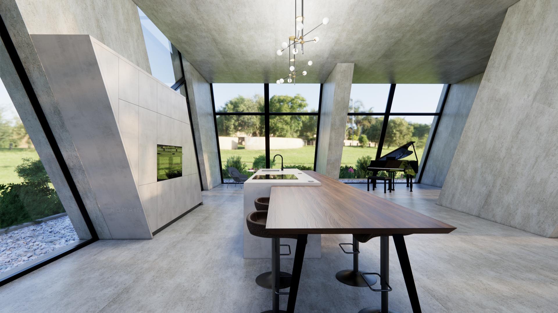 Cuisine loft gris beton et noyer g