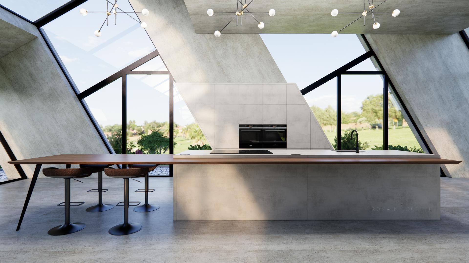 Cuisine loft ilot gris beton dekton et noyer
