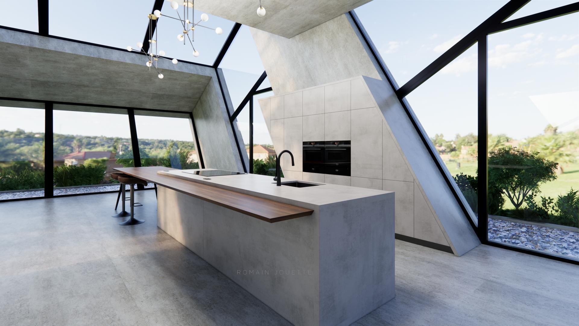 Cuisine loft ilot gris beton et plan noyer g