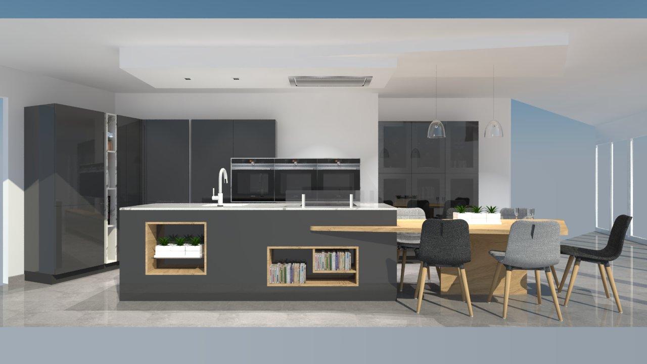 cuisine moderne avec 238lot ph233nix gris anthracite et bois