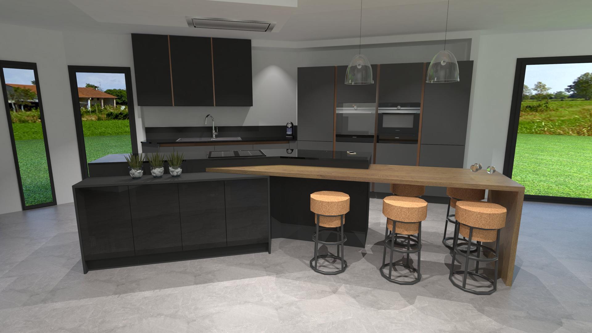 Cuisine gris anthracite bois et cuivre avec lot design for Cuisine grise design