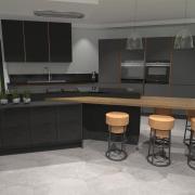 Cuisine moderne design gris anthracite cuivre et granit