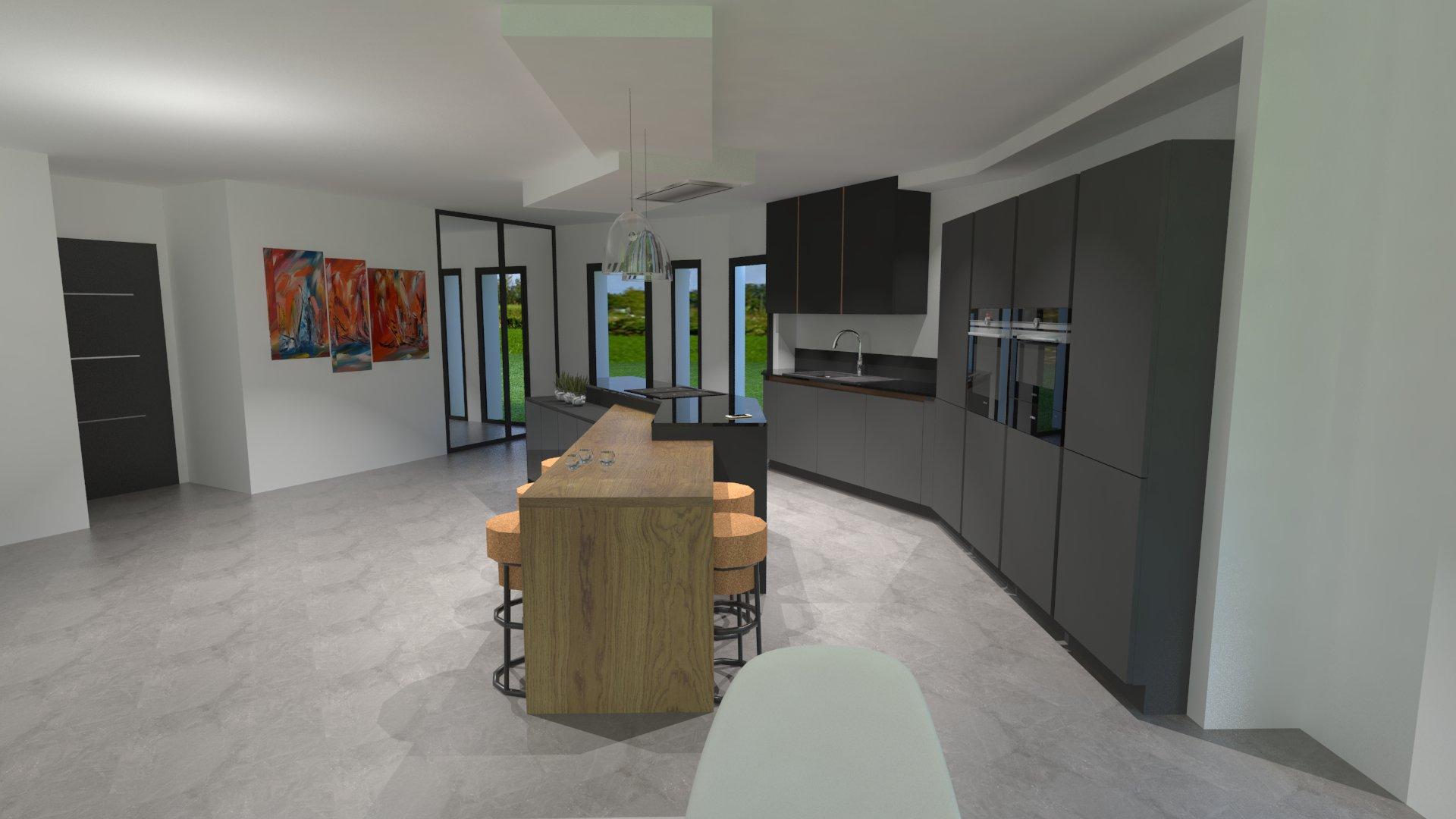 Cuisine gris anthracite bois et cuivre avec lot design for Cuisine bois gris moderne