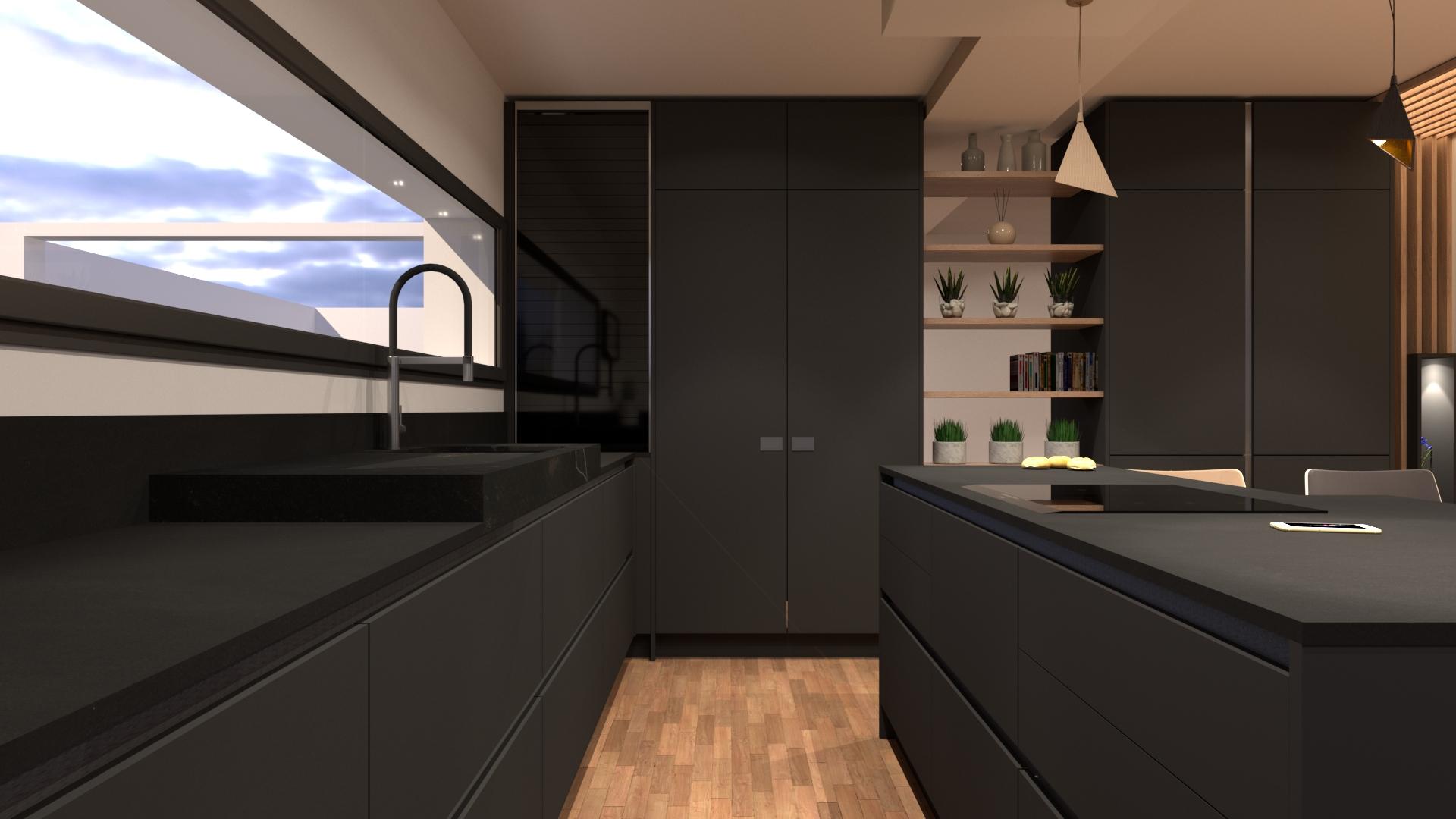 Cuisine moderne noir et bois