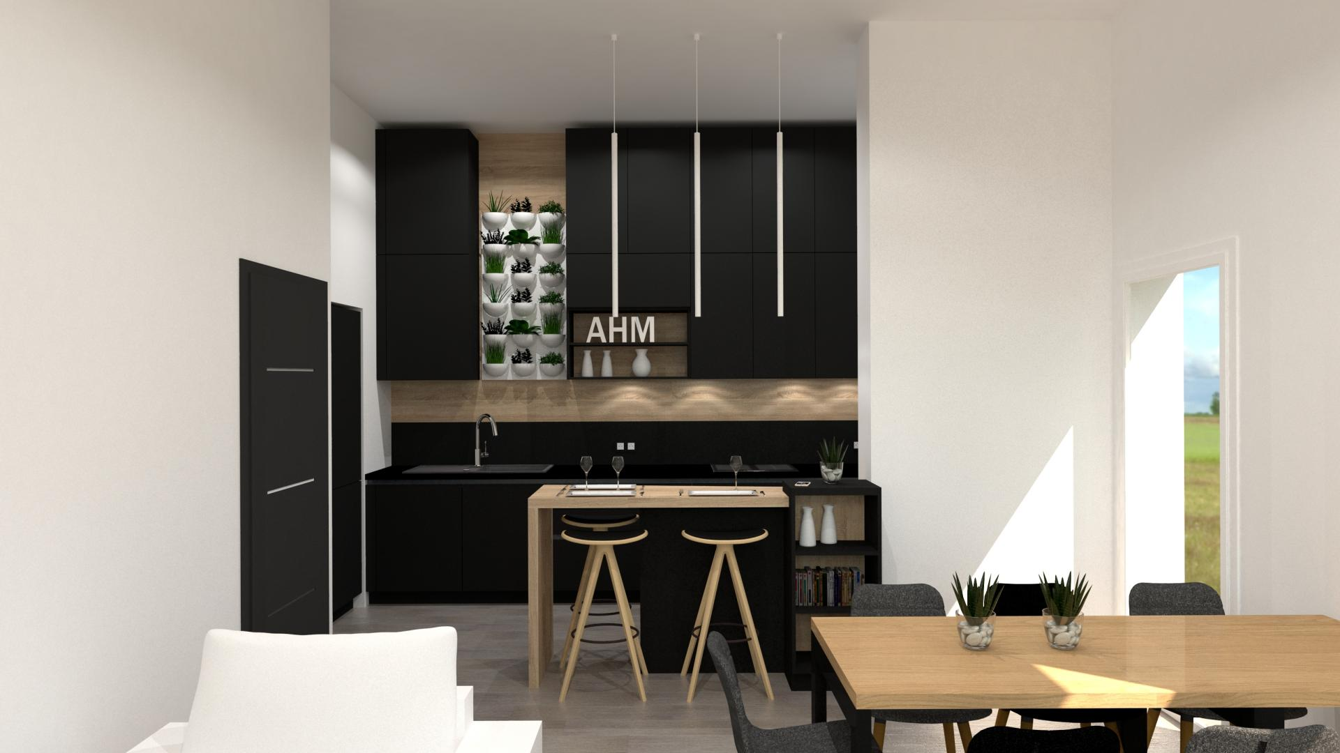 cuisine moderne lot noir et bois cuisiniste paris. Black Bedroom Furniture Sets. Home Design Ideas