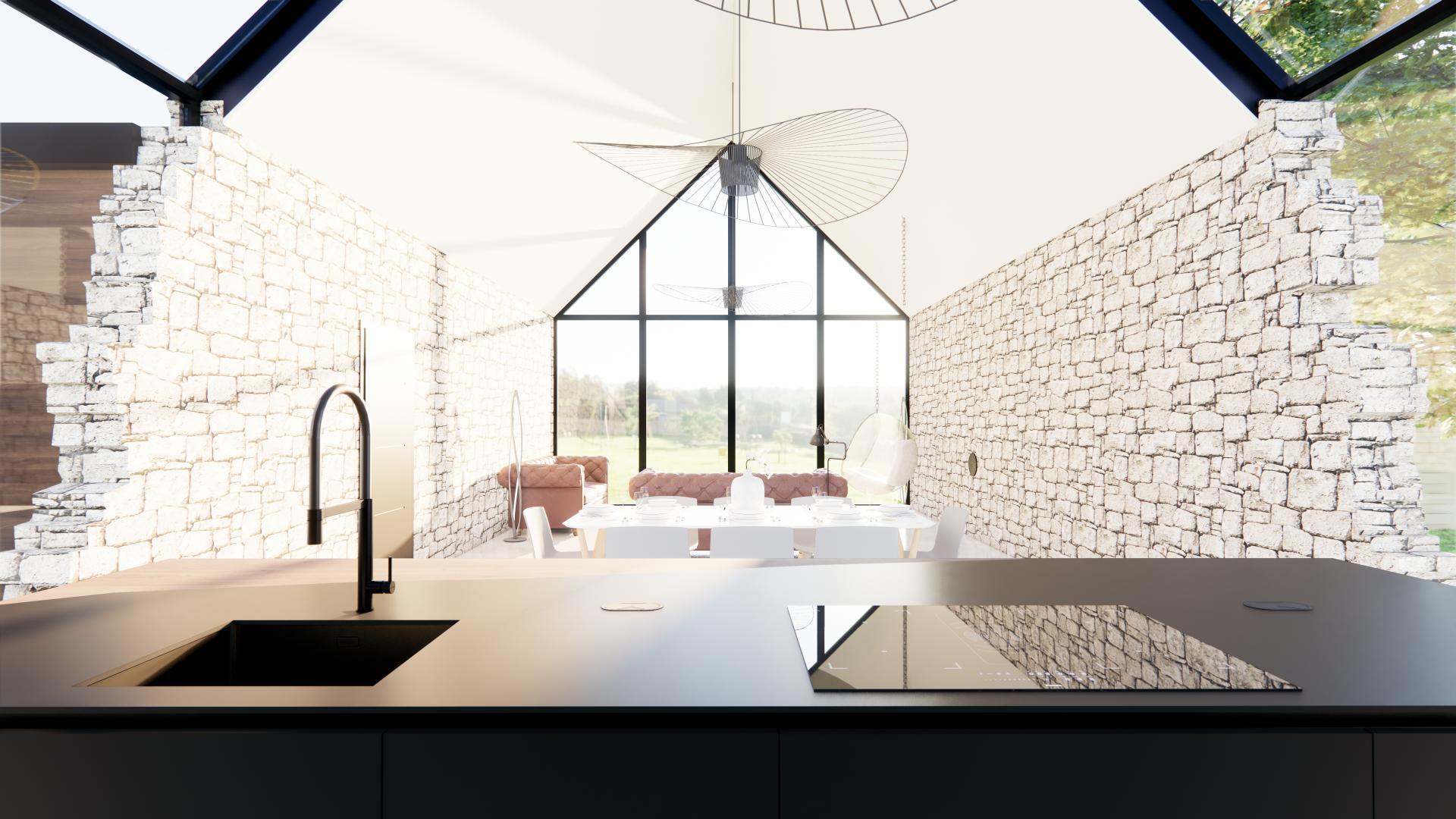 Cuisine noire maison moderne