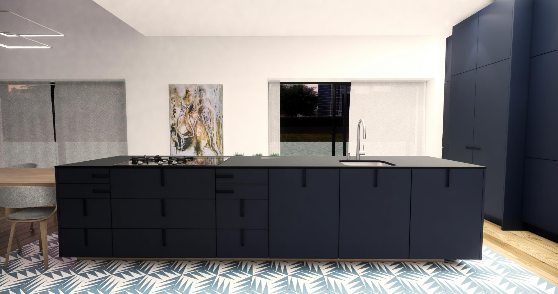 cuisine bleu noir avec grand lot d natoire. Black Bedroom Furniture Sets. Home Design Ideas