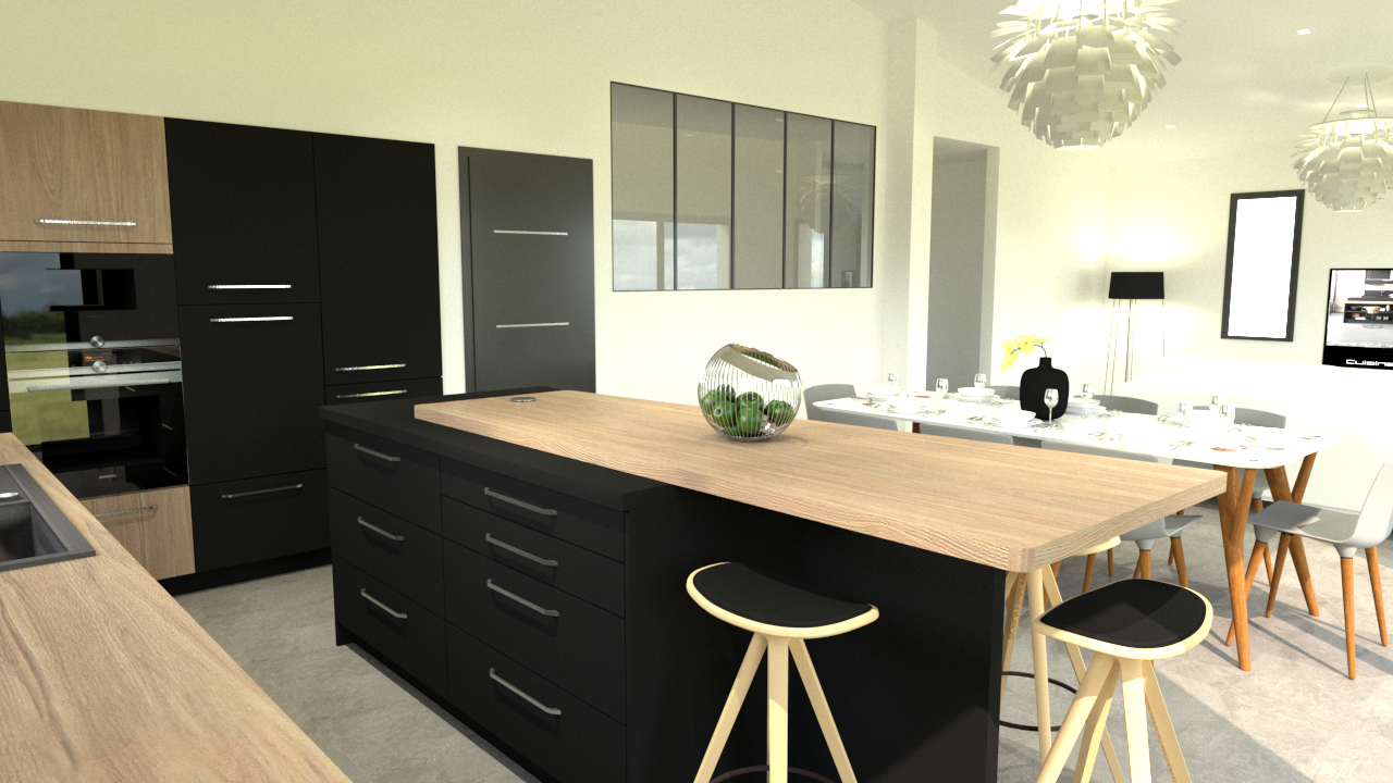cuisine design dition f nix et bois cuisiniste rouen. Black Bedroom Furniture Sets. Home Design Ideas