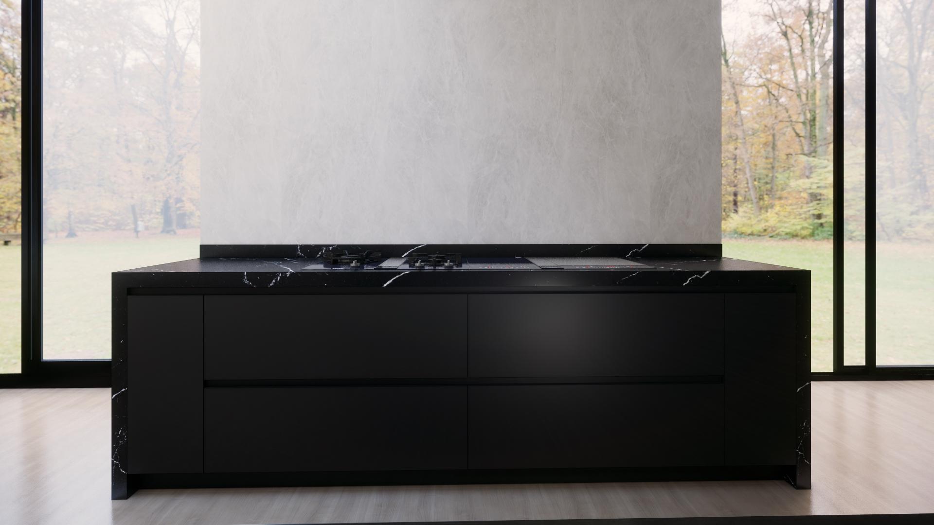 Espace cuisson avec marbre noir epais 1