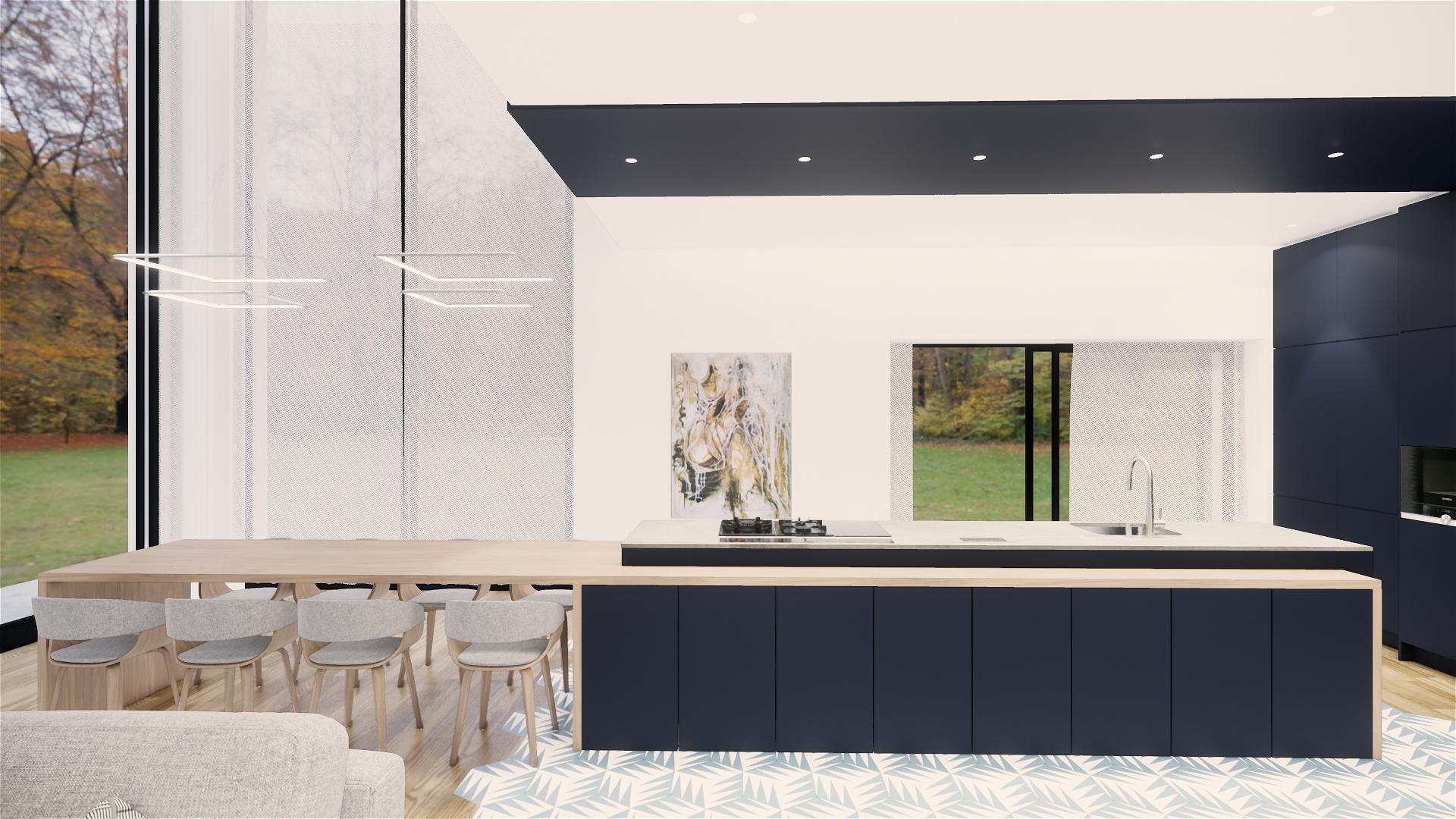 Grand ilot de cuisine moderne bleu anthracite 1