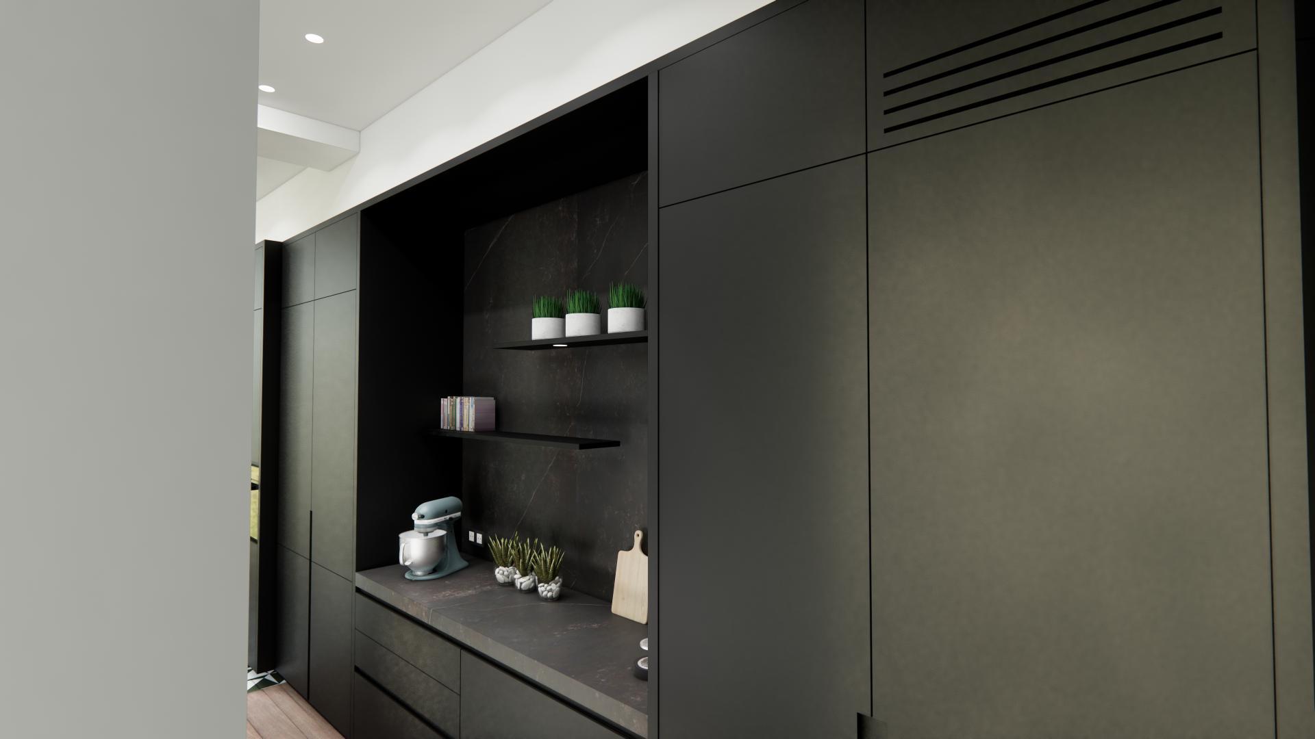 Mur d armoires avec espace dejeuner