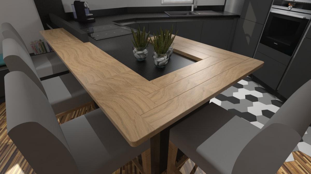 Cuisine moderne gris anthracite mat et bois massif for Cuisine moderne en bois massif