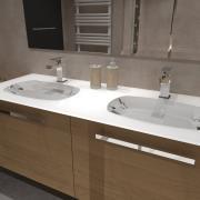 Salle de bain bois double vasque en verre blanc